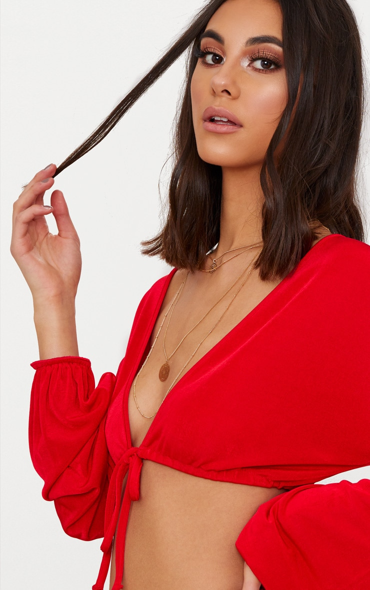 Red Slinky Drawstring Blouson Sleeve Crop Top 5