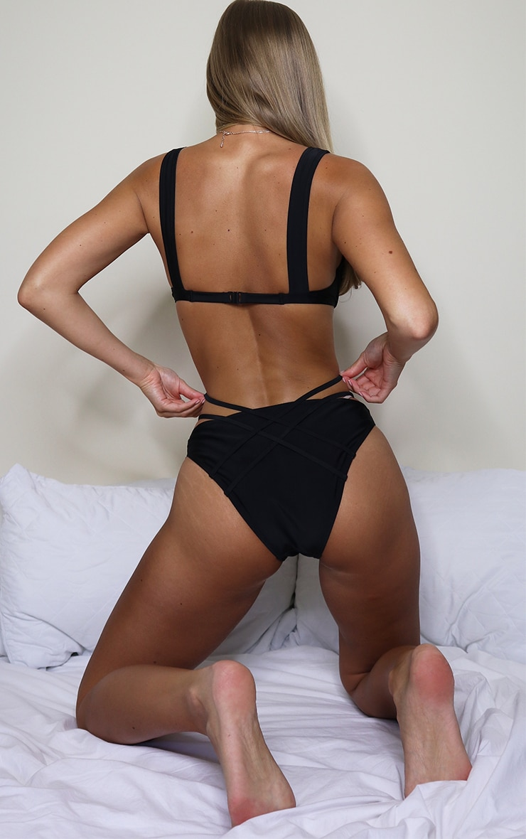 Black Cheeky Bum Strappy Bikini Bottom 2