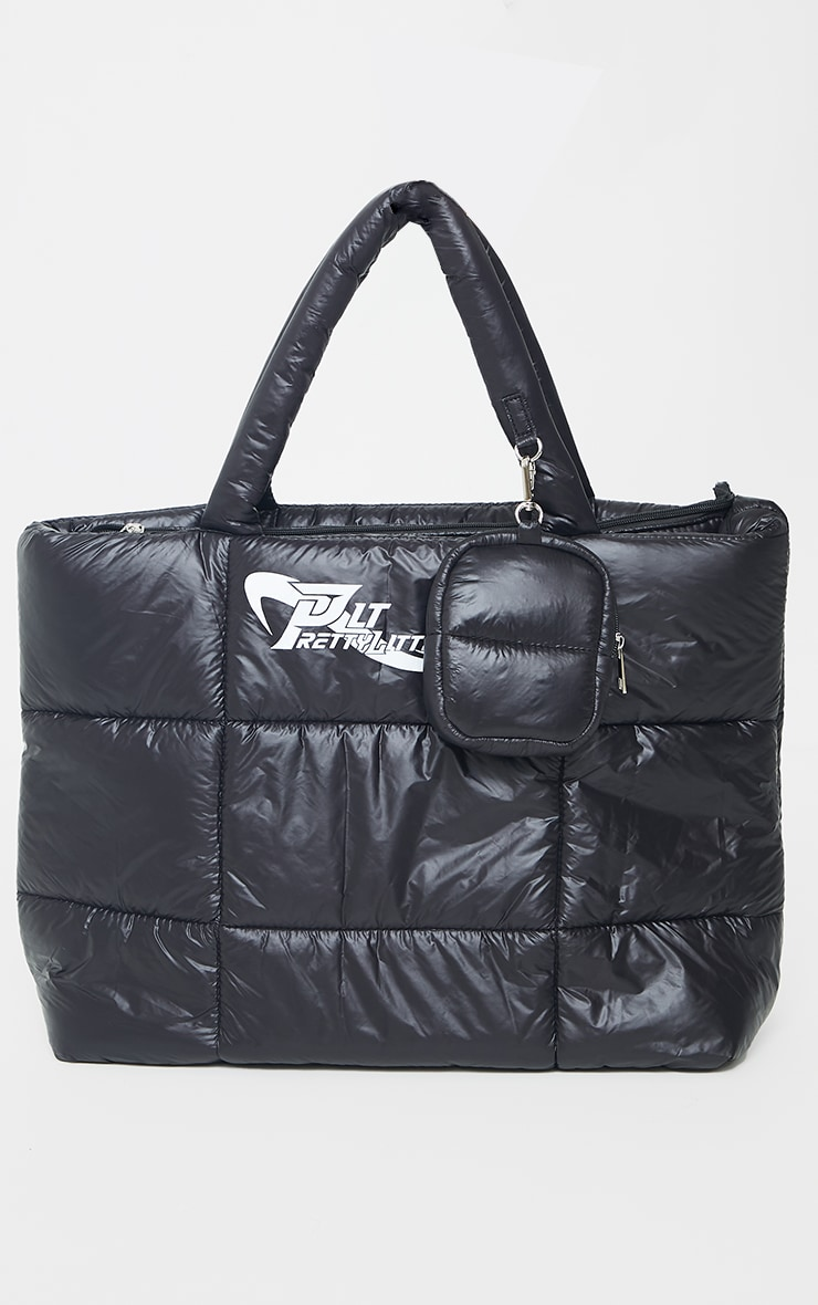 PRETTYLITTLETHING Black Swirl Logo Quilted Oversized Tote Bag 2