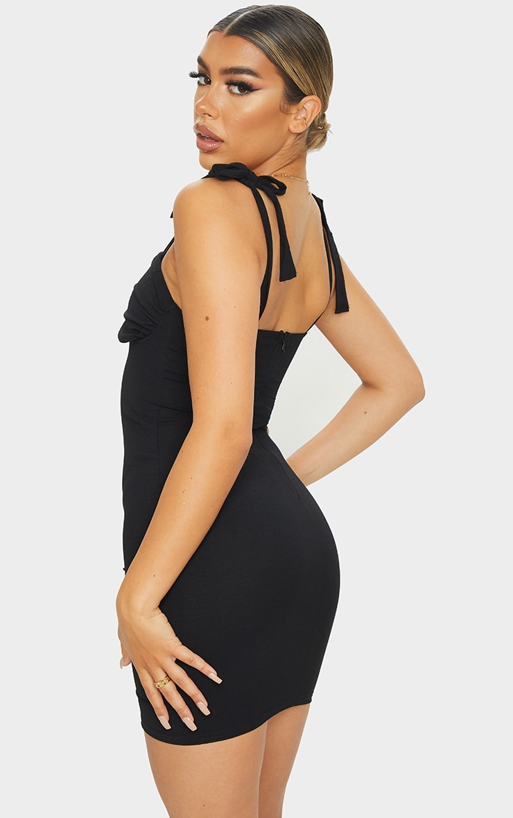 Black Woven Ruched Bust Sleeveless Bodycon Dress 2