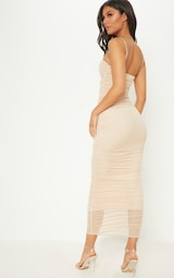 45424c19d1c Nude Strappy Mesh Ruched Midaxi Dress image 2