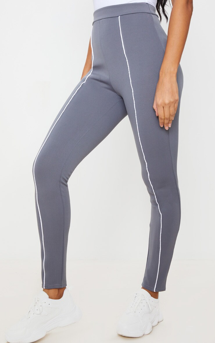 Grey Contrast Binding Scuba Legging 2
