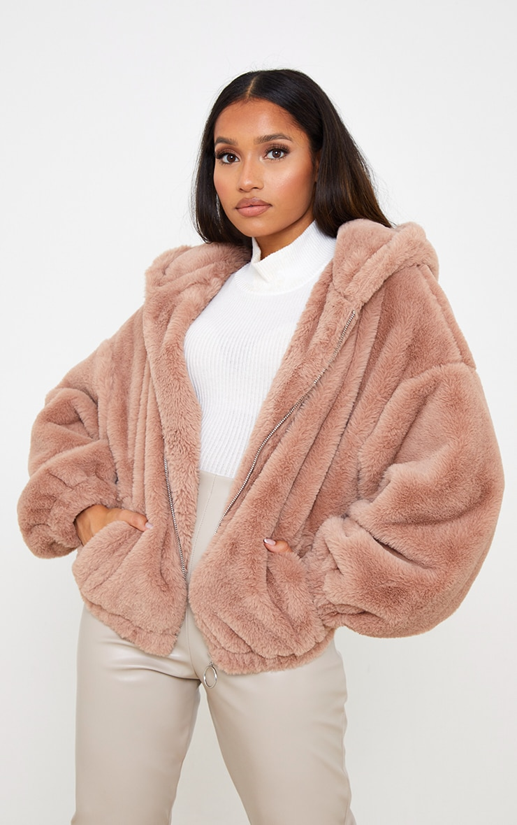 Petite Taupe Faux Fur Hooded Balloon Sleeve Jacket 1
