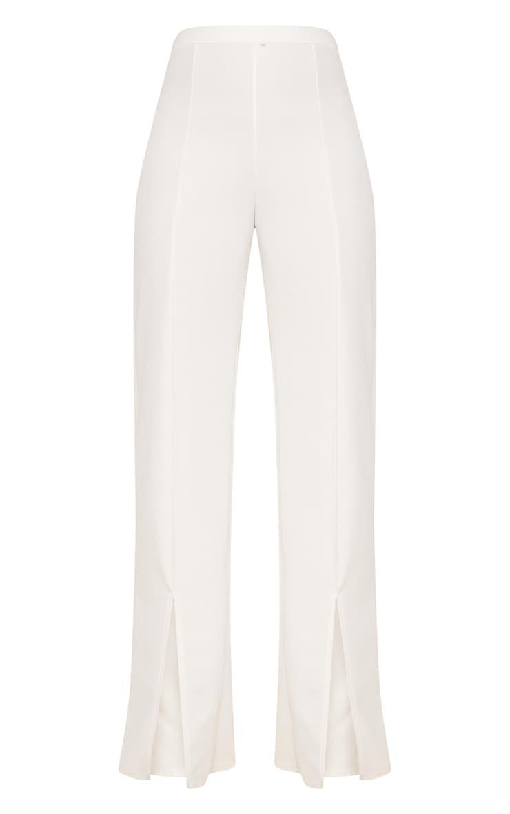 White Split Hem Straight Leg Trousers 3