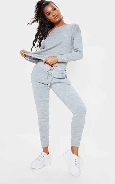 e3781adfcf8f6 Grey Jogger Jumper Knitted Lounge Set