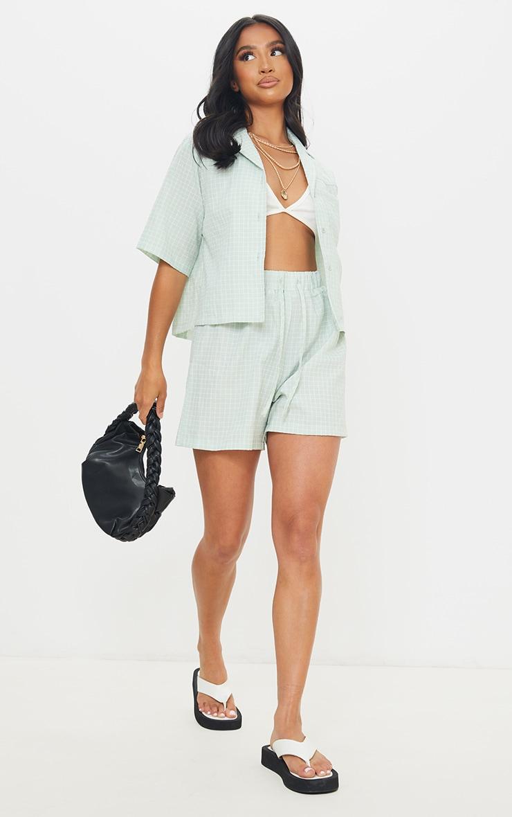 Petite Sage Green Checked Longline Shorts 1