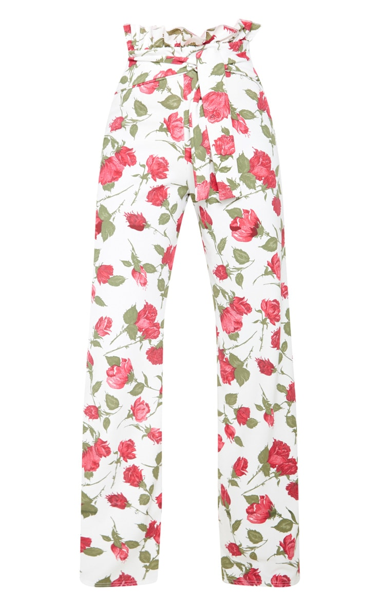 Rose Print Crepe Paperbag Wide Leg Pants 3
