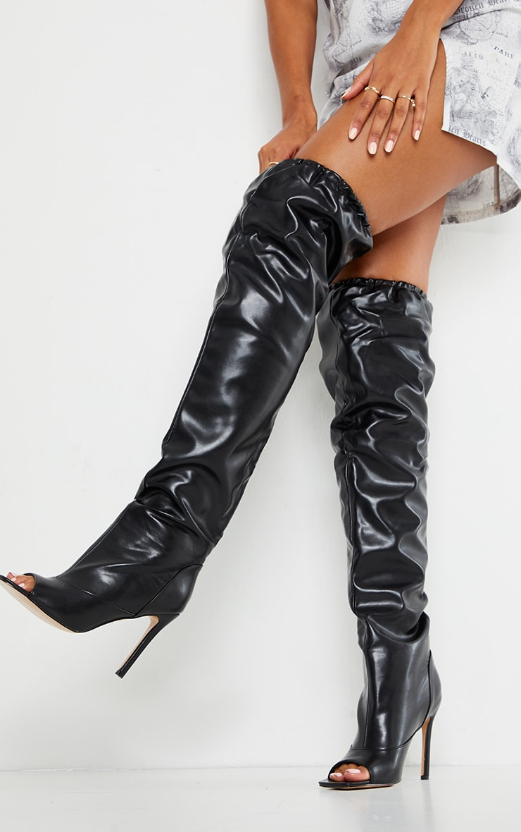Black Square Peeptoe Elastic Knee High Slouch Boot 1