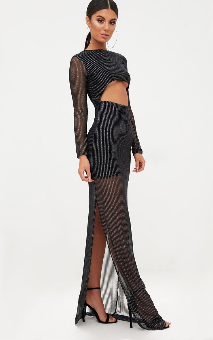 Black Metallic Stripe Cut Out Detail Maxi Dress 4