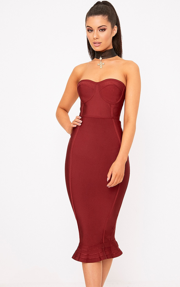 Dark Red Bandage Frill Hem Midi Dress 1
