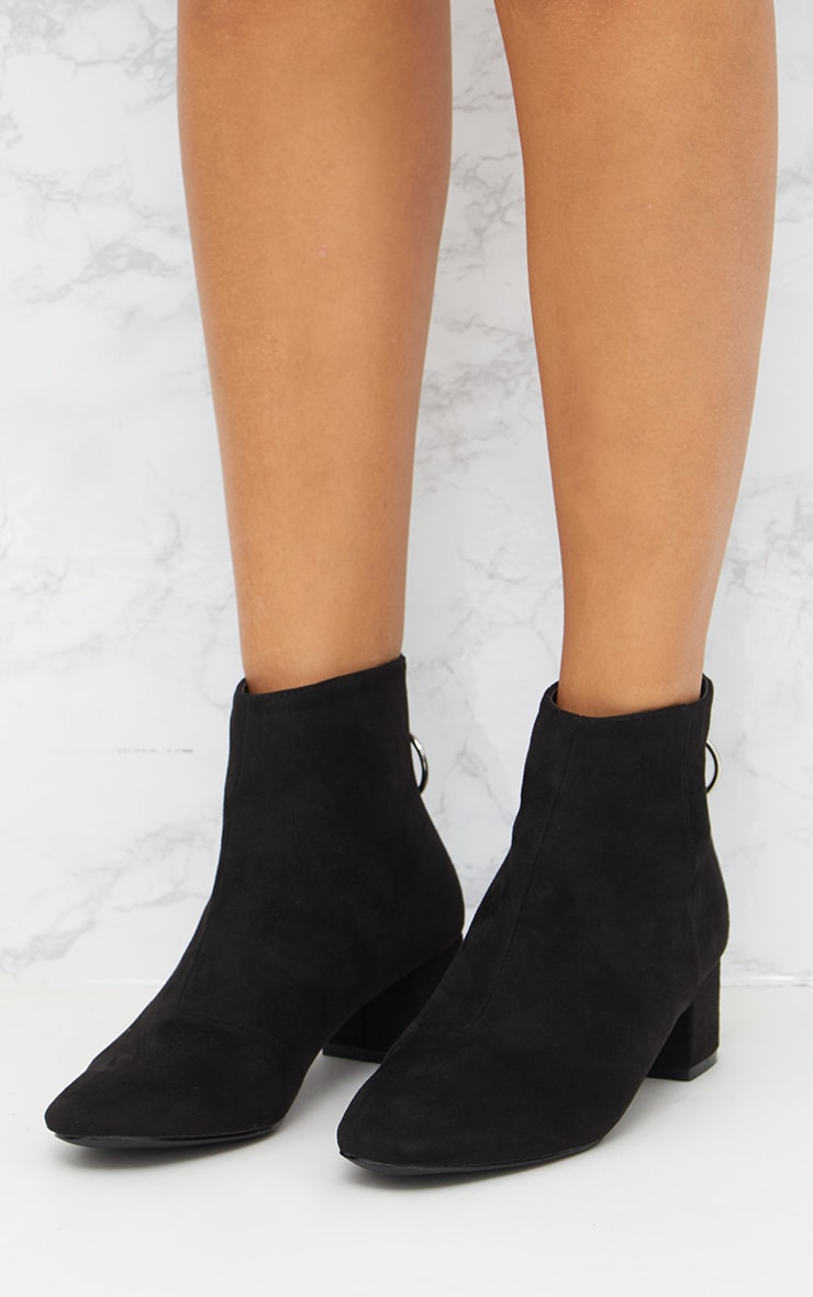 Black Faux Suede Ring Zip Ankle Boots 2