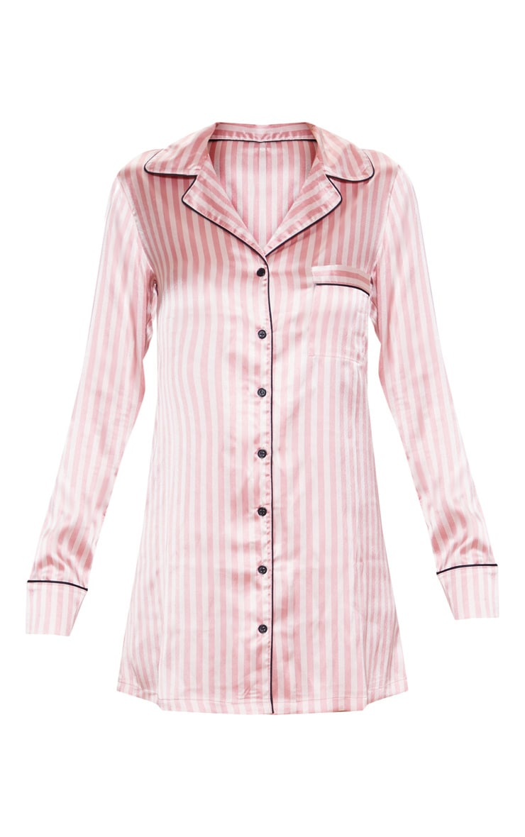 Pink Satin Striped Night Shirt 3