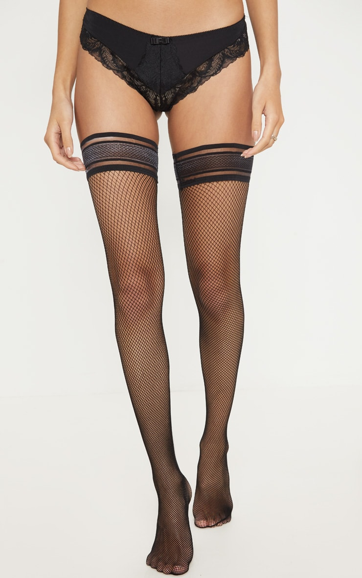 Black Mesh Stripe Fishnet Hold Ups