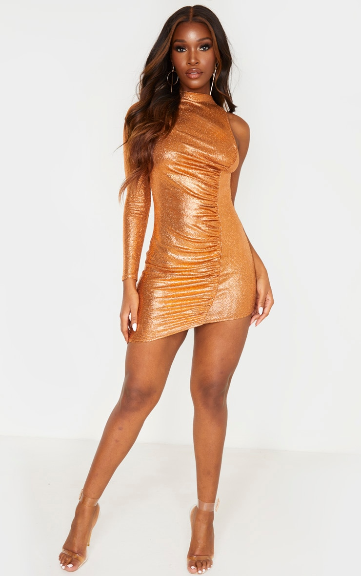 Rust Metallic Glitter High Neck Ruched One Shoulder Bodycon Dress 4