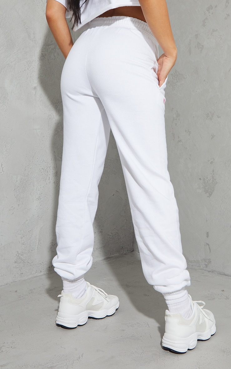 PRETTYLITTLETHING White Oversized Embroidered Joggers 3