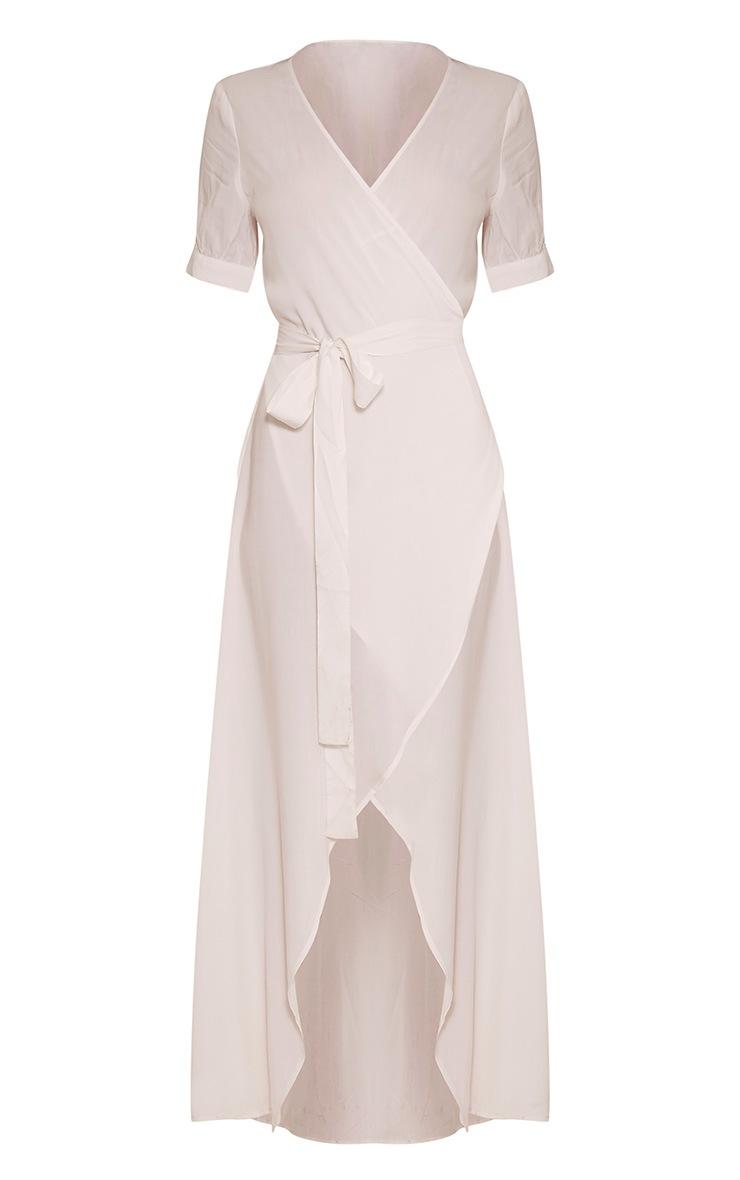 Renesmee robe chemise maxi blanche cache-cœur 5