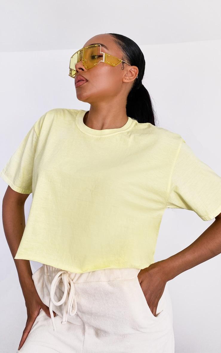 T-shirt crop vert pâle délavé 4