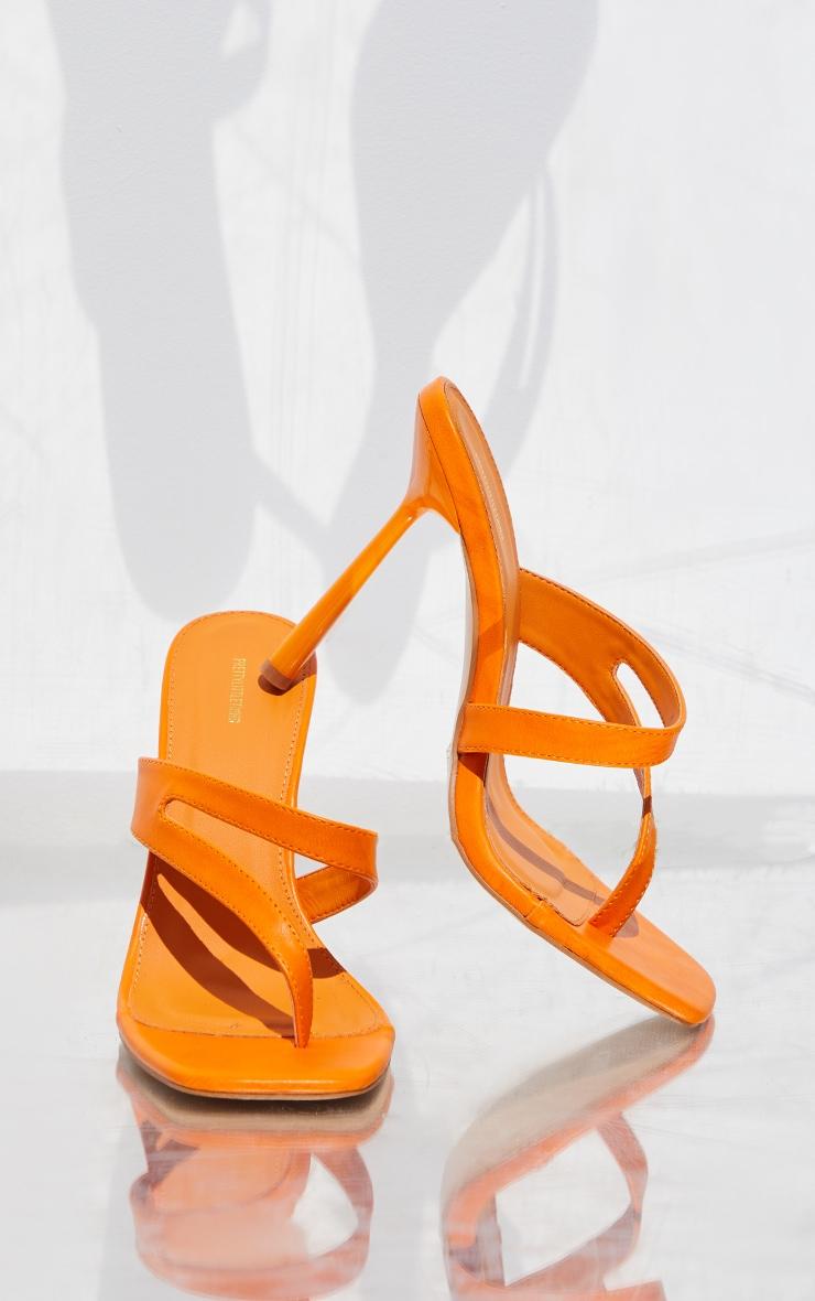 Orange PU Asymmetric High Heeled Mules 3