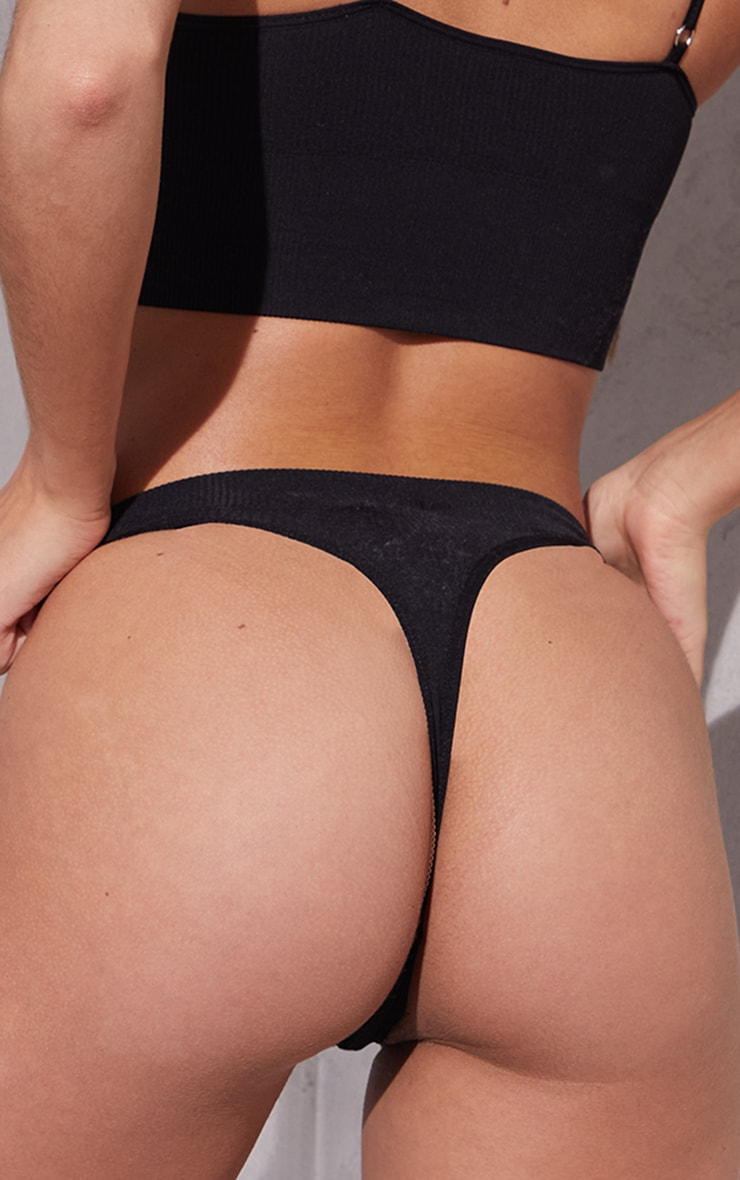 Black Seamless Rib Thong 2
