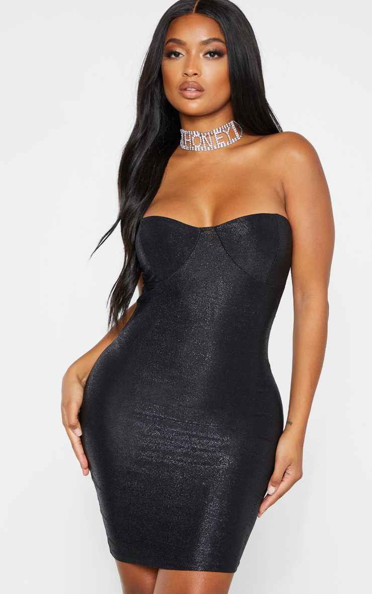 Shape Black Glitter Cup Detail Bandeau Bodycon Dress 1