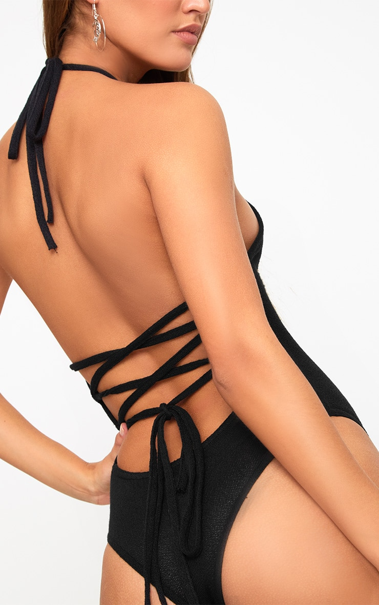 Black Lightweight Knit Lace Up Back Thong Bodysuit 1