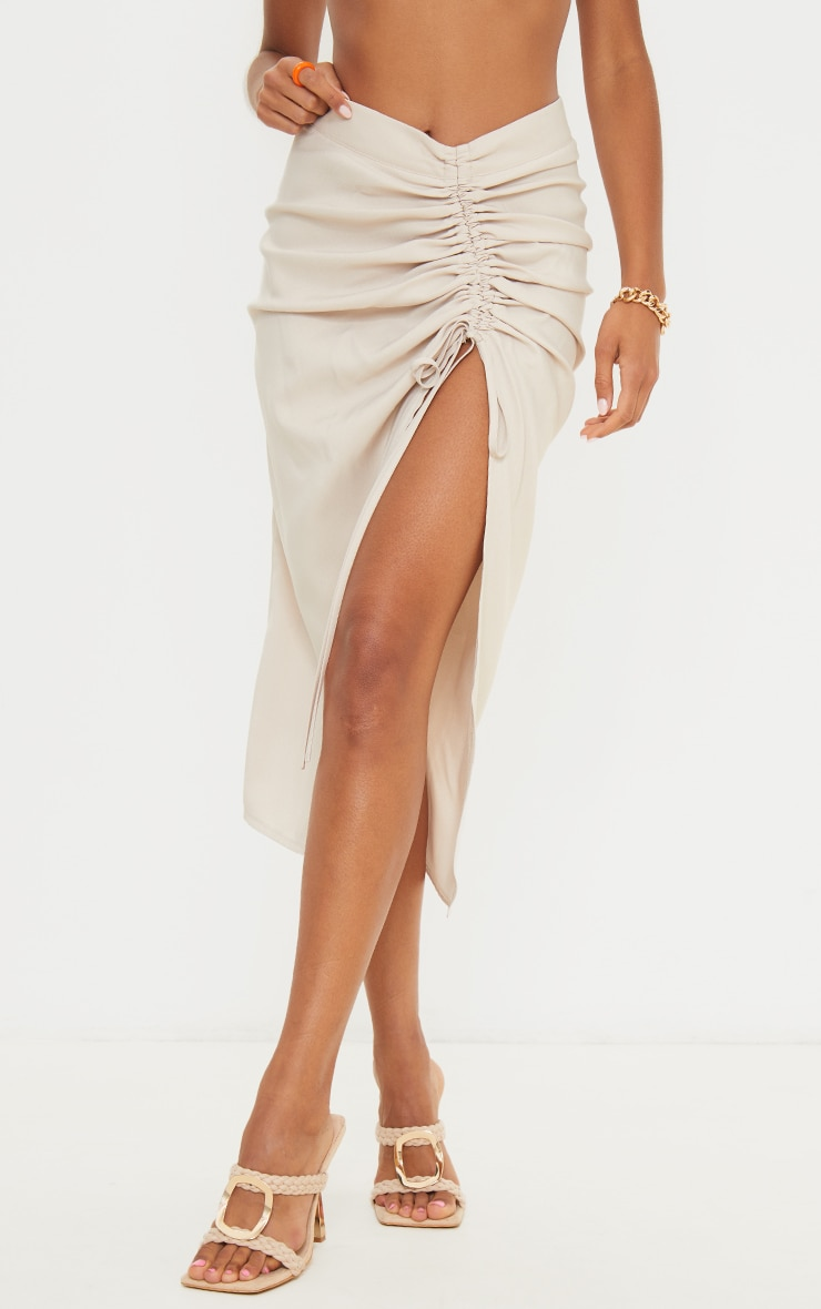 Champagne Woven Ruched Detail Midi Skirt 2