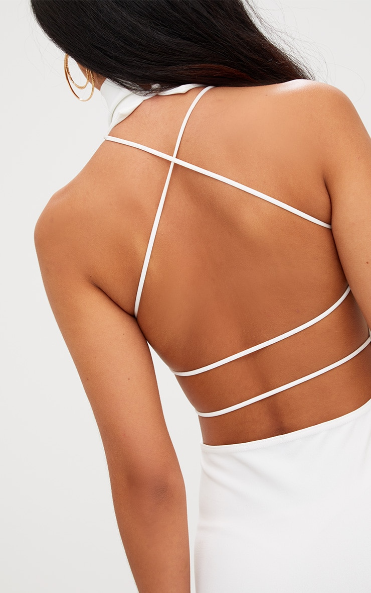 White Lace Up Back Extreme High Neck Detail Bodycon Dress 5