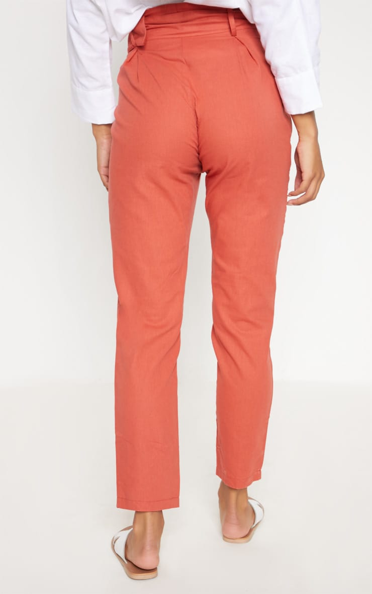 Rust Belted Paperbag Tapered Trouser 4