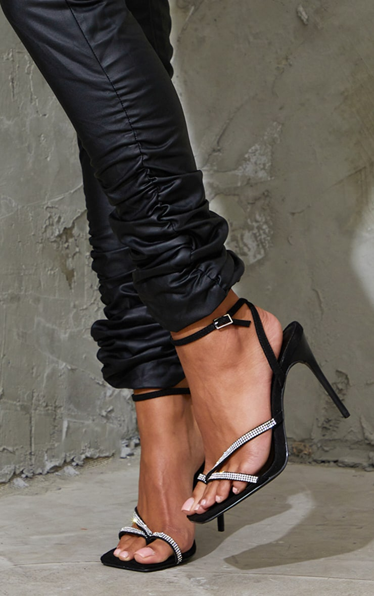 Black Toe Through Strappy Square Toe Heeled Sandals 2