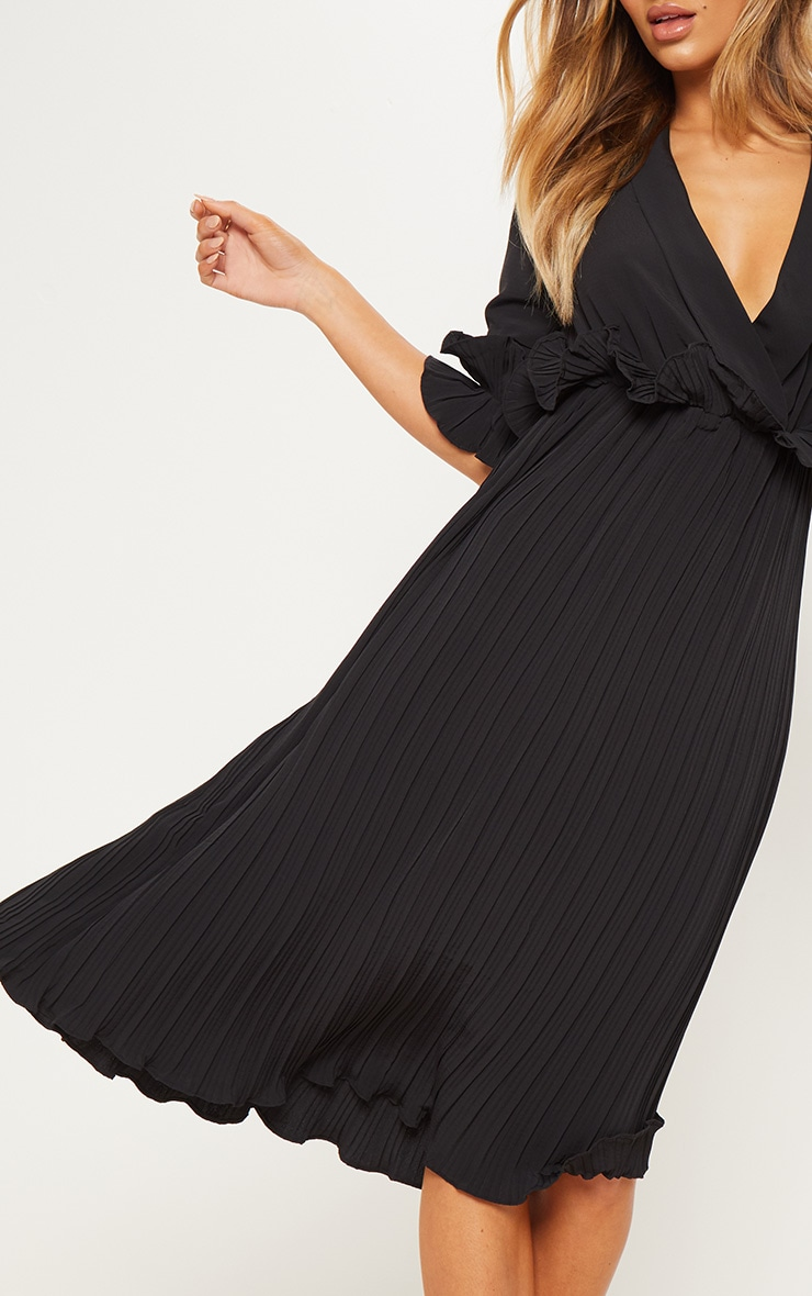 Black Frill Detail Pleated Midi Dress 4
