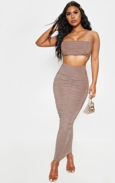Taupe Slinky Ruched Detail Midaxi Skirt