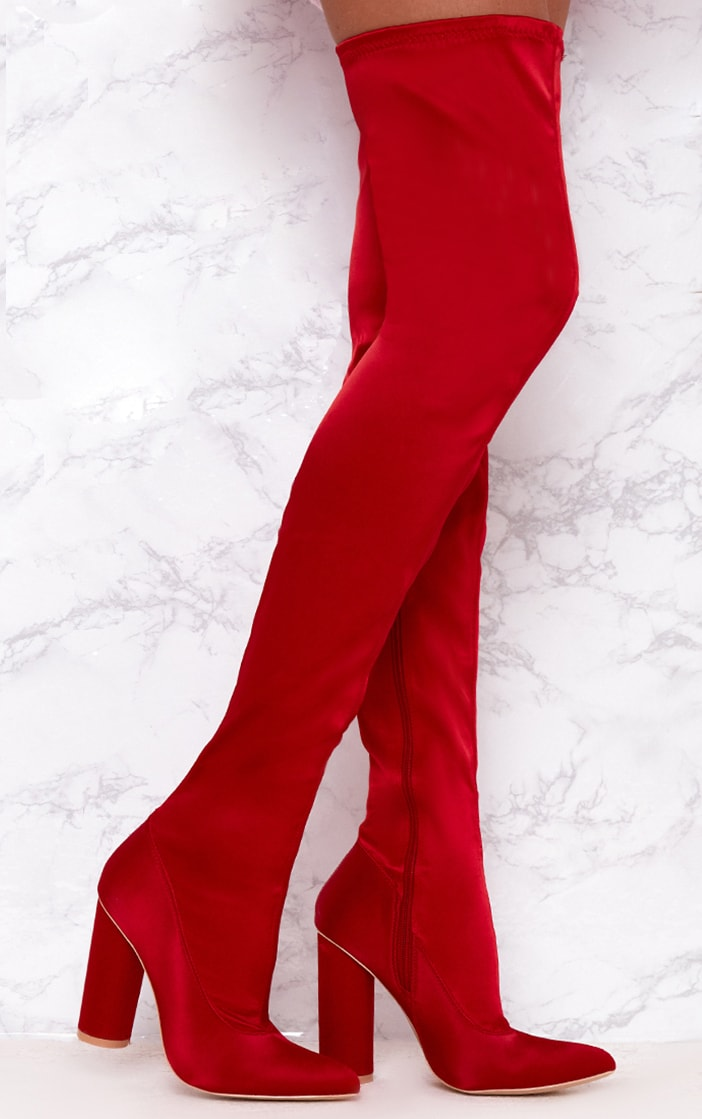 Red Stretch Satin Sock Thigh High Boots  1