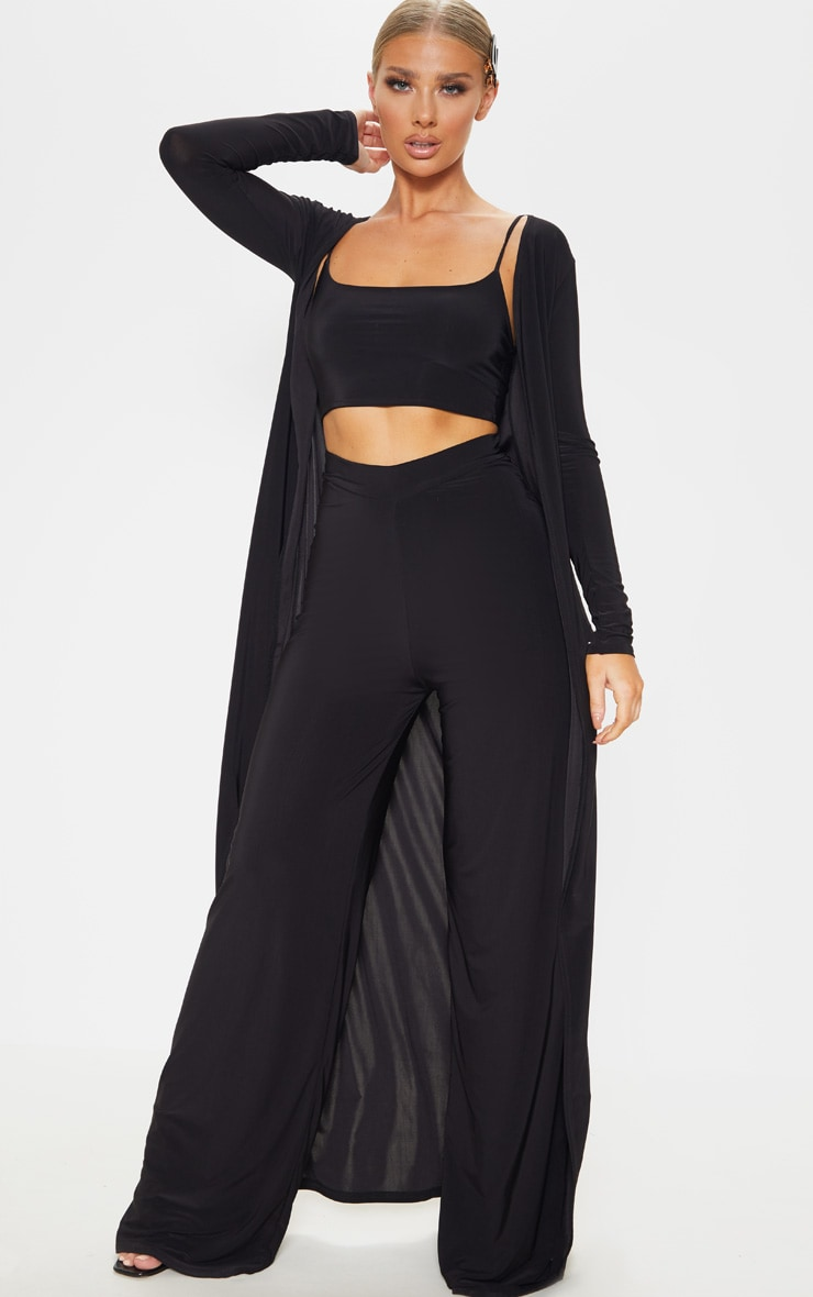 Black Slinky Strappy Detail Crop Top 4