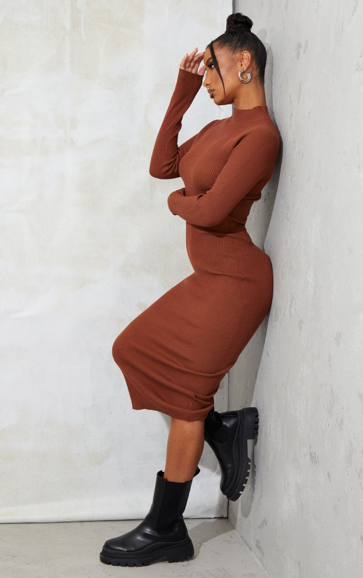Rust Turtle Neck Knitted Bodycon Maxi Dress 1
