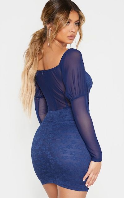 Navy Lace Mesh Insert Hook And Eye Detail Bodycon Dress