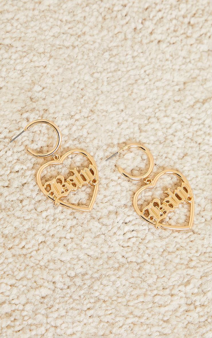 Gold Baby Heart Statement Earrings 2