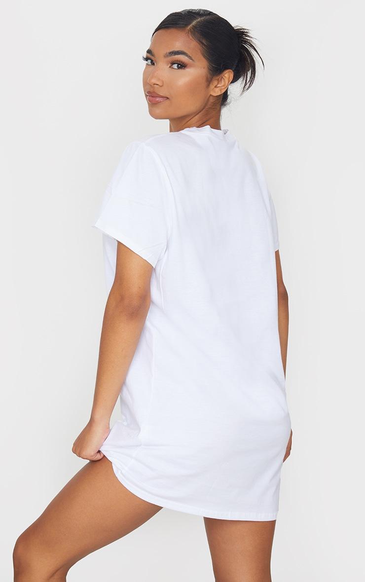 White Diamante Angel Slogan T Shirt Dress 2