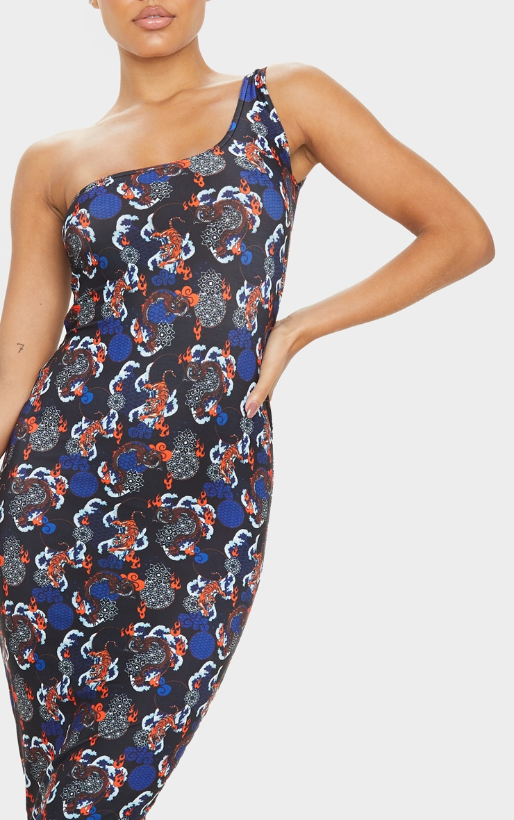 Black Tiger Oriental Print Slinky One Shoulder Midi Dress 5
