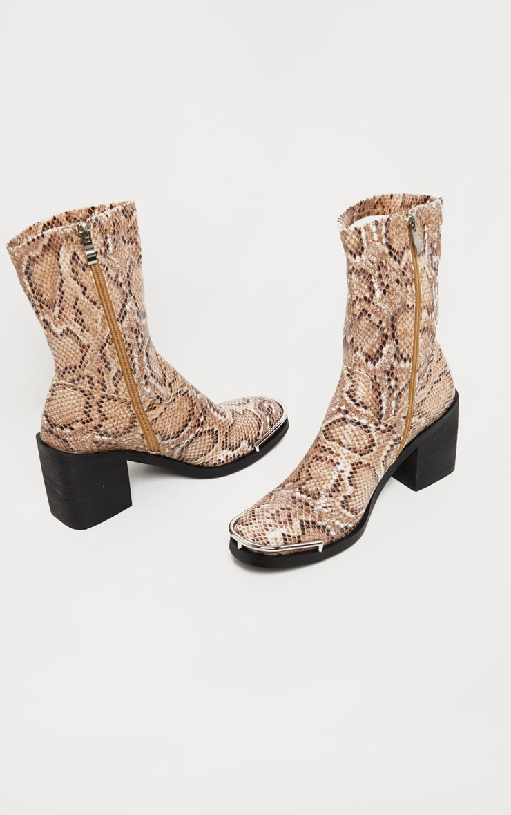 Snake Metal Detail Sock Boot 3