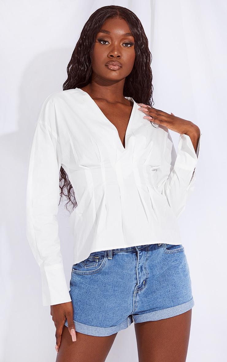 Tall White Corset Detail Shirt 1