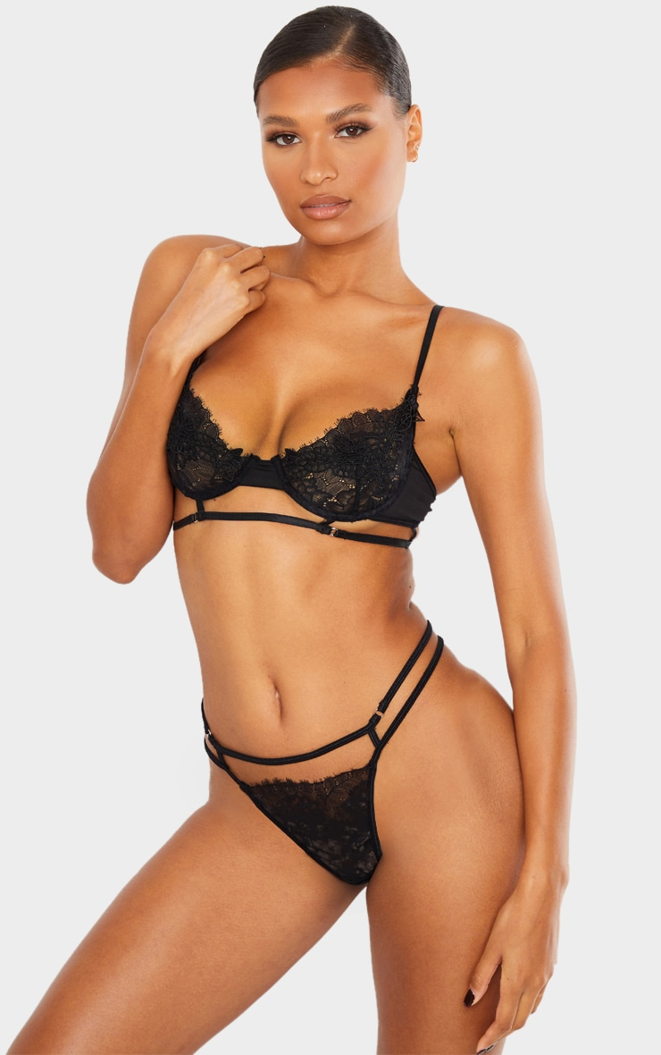 Black Embroidered Lace Detail Strappy Lingerie Set 1