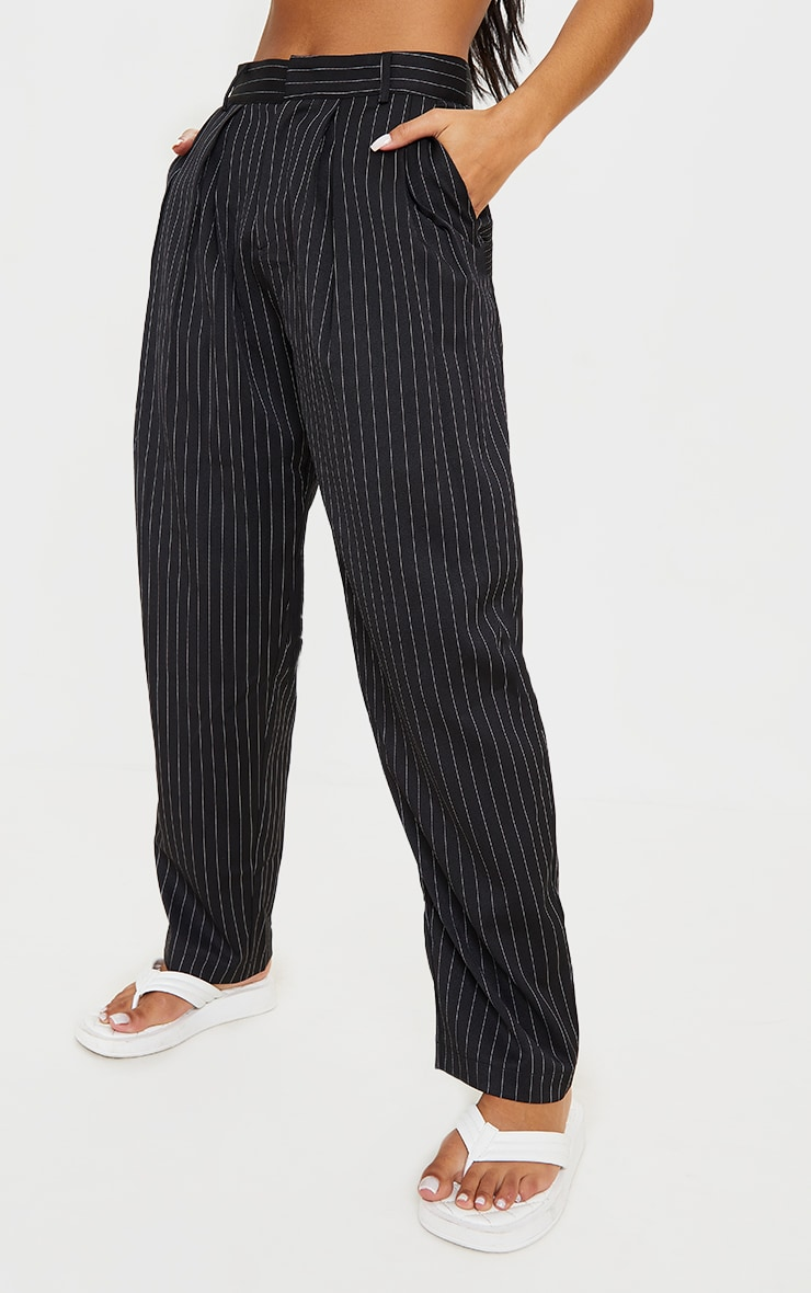 Black Pinstripe Woven High Waisted Trousers 2