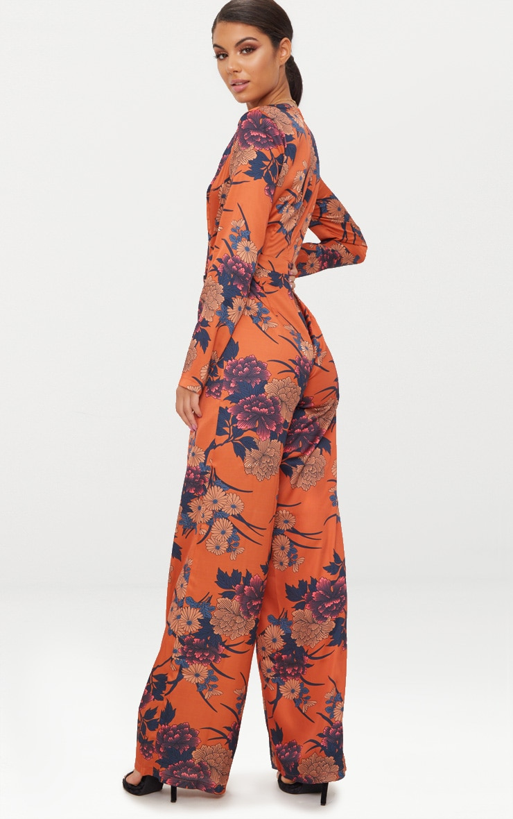 Orange Floral Print Long Sleeve Plunge Jumpsuit 2