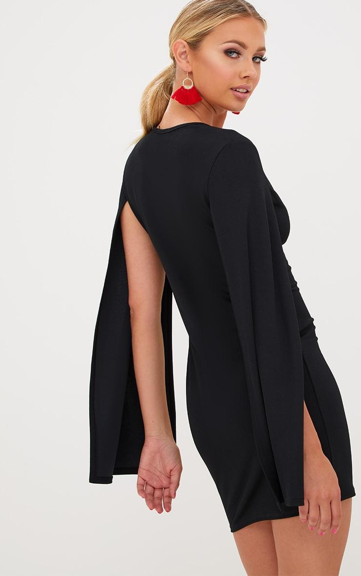 Black Split Arm Bodycon Dress 2