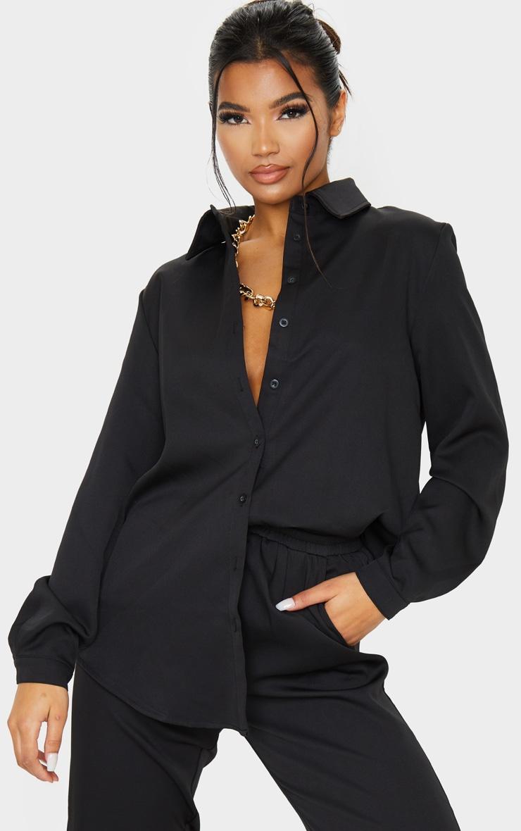 Black Oversized Long Sleeve Shirt image 1