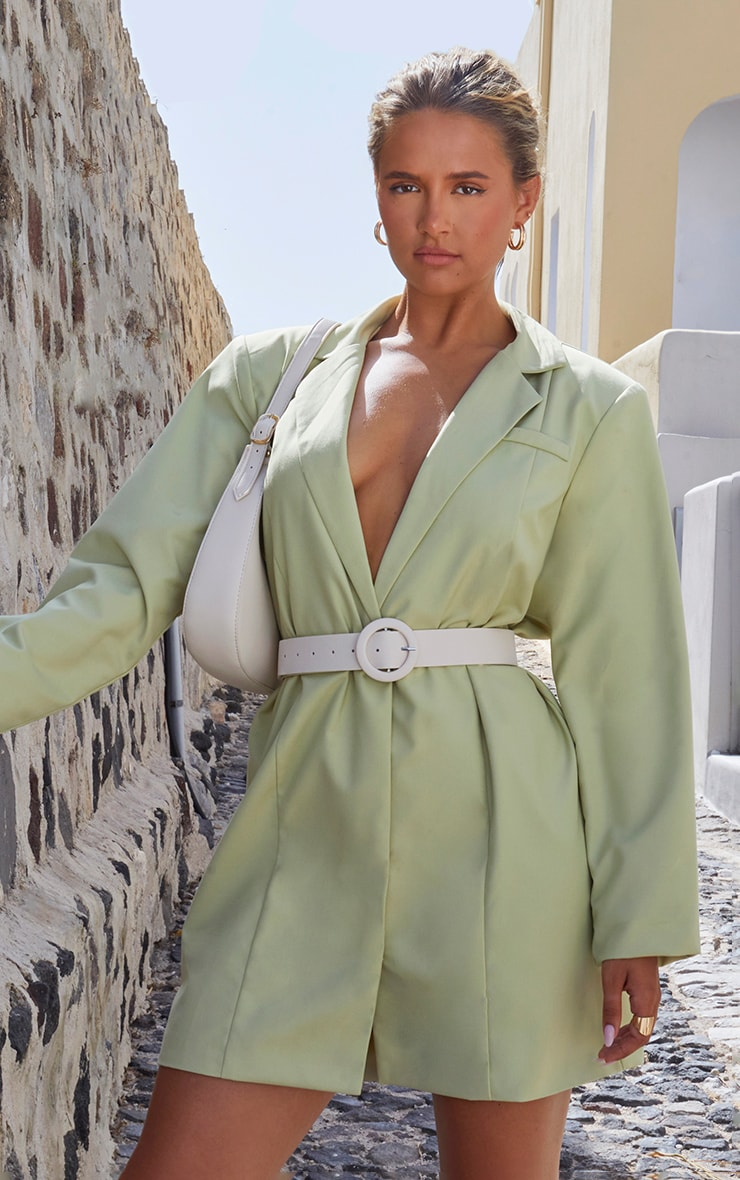 Sage Green Oversized Blazer Dress 1