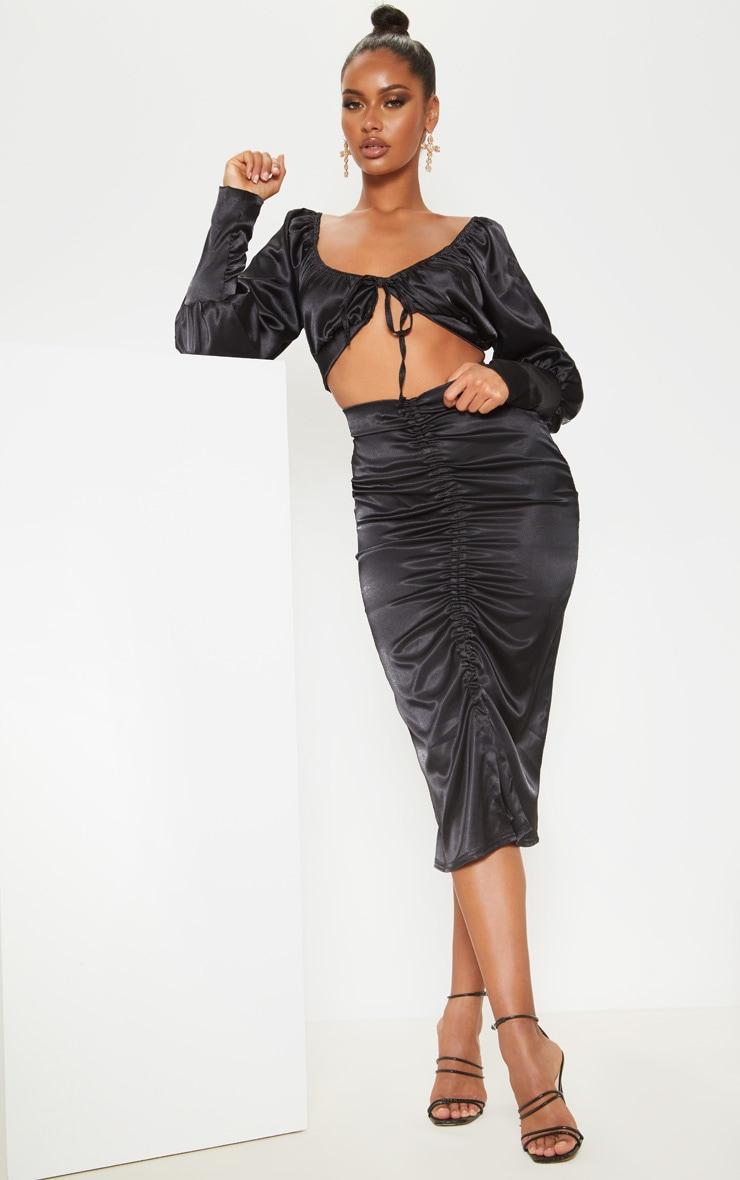 Black Satin Ruched Front Midi Skirt  1