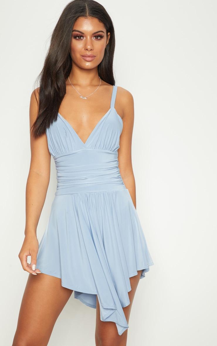 Dusty Blue Slinky Asymmetric Hem Swing Dress 1