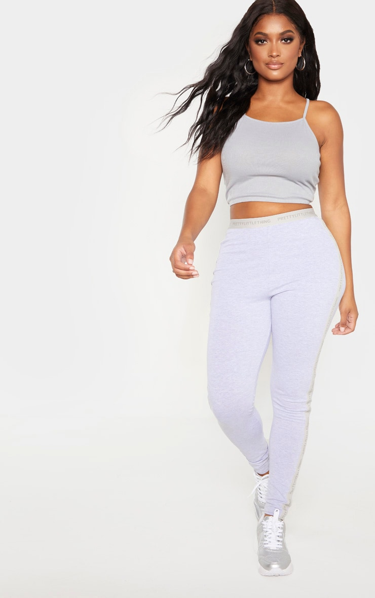 Shape Grey Marl Fuller Bust Rib Racer Neck Crop Top 4