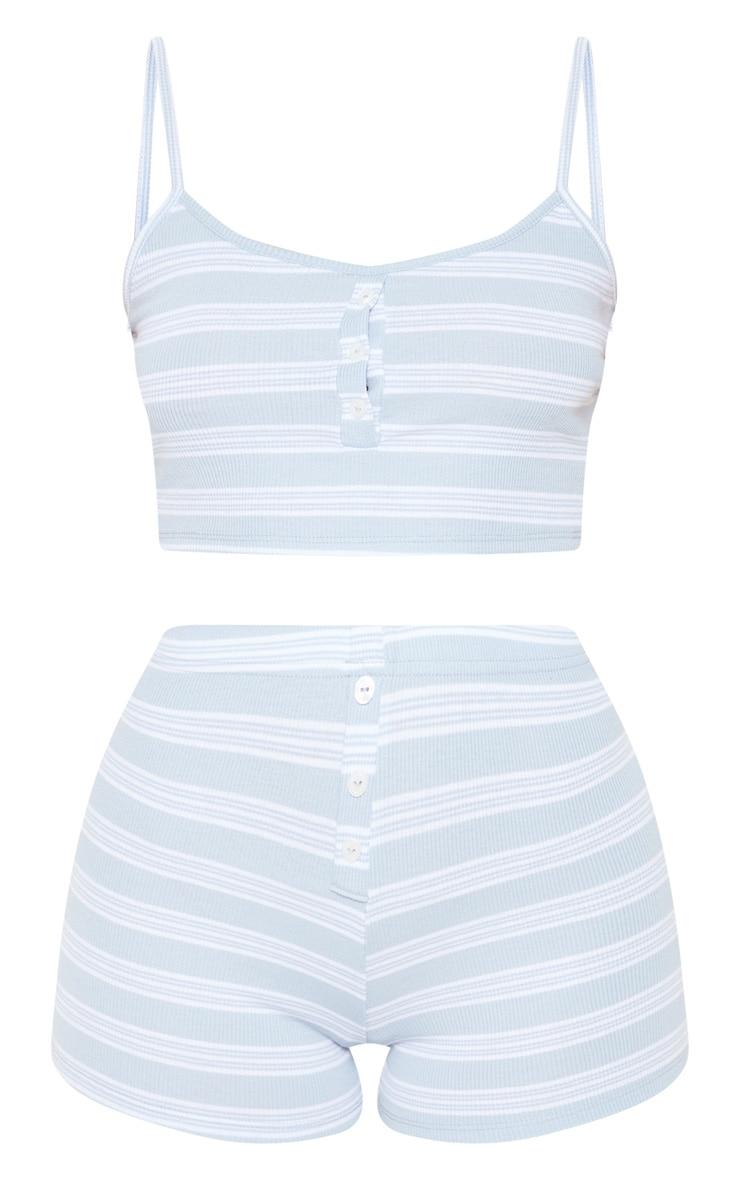 Baby Blue Button Front Stripe Rib PJ Set 3
